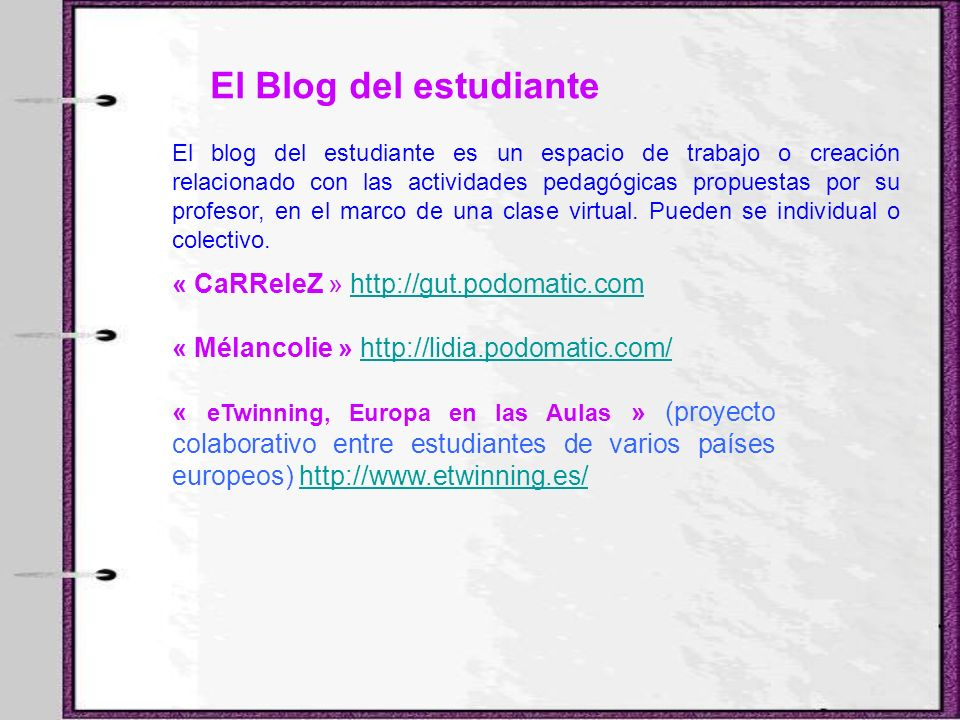 El Blog del estudiante « CaRReleZ » http://gut.podomatic.com