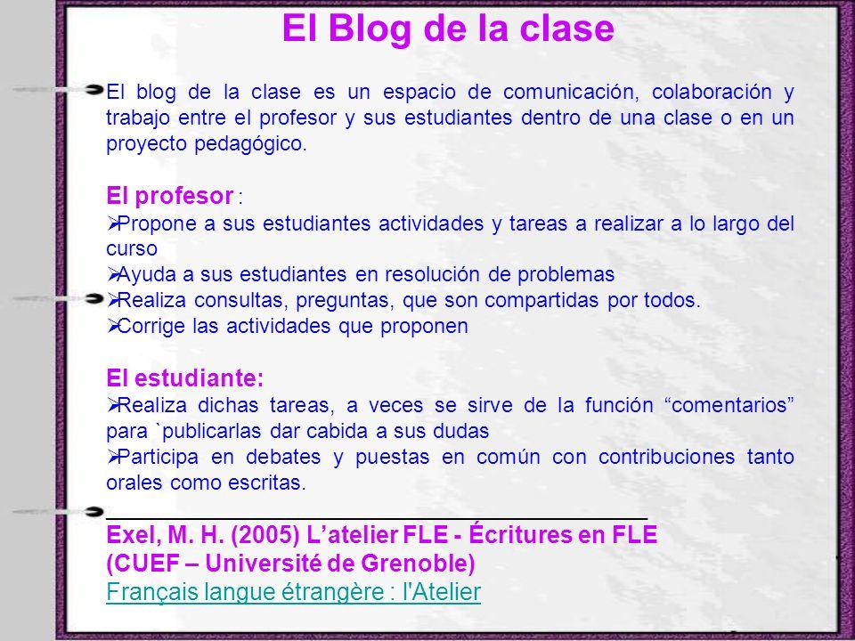 El Blog de la clase El profesor : El estudiante:
