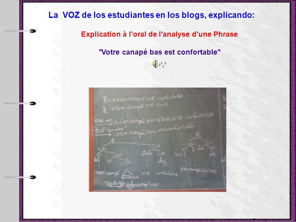 La VOZ de los estudiantes en los blogs, explicando: