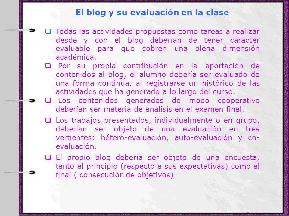 El blog y su evaluación en la clase