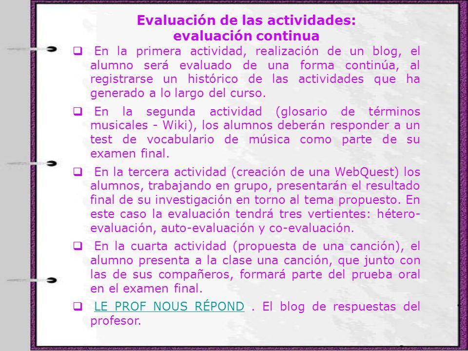 Evaluación de las actividades: