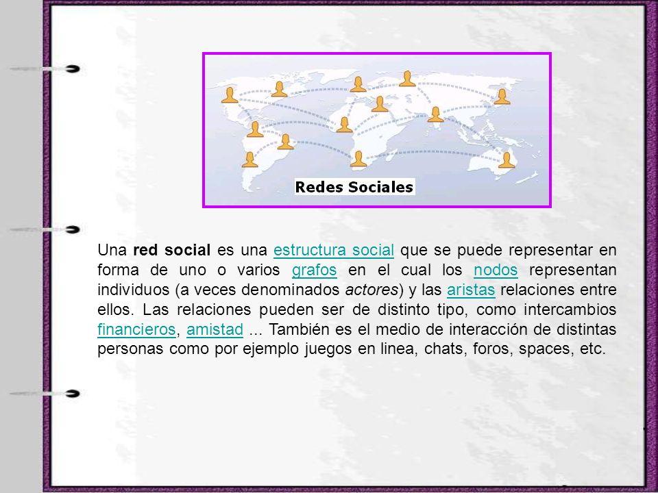 Una red social es una estructura social que se puede representar en forma de uno o varios grafos en el cual los nodos representan individuos (a veces denominados actores) y las aristas relaciones entre ellos.