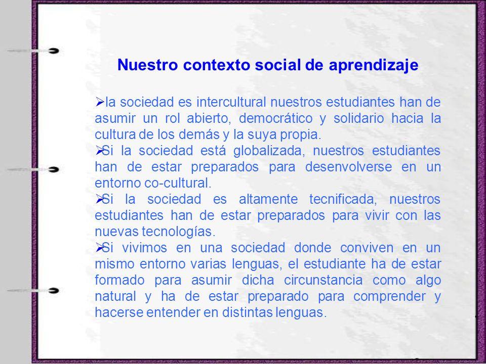 Nuestro contexto social de aprendizaje