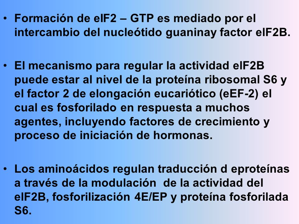 Formación de eIF2 – GTP es mediado por el intercambio del nucleótido guaninay factor elF2B.