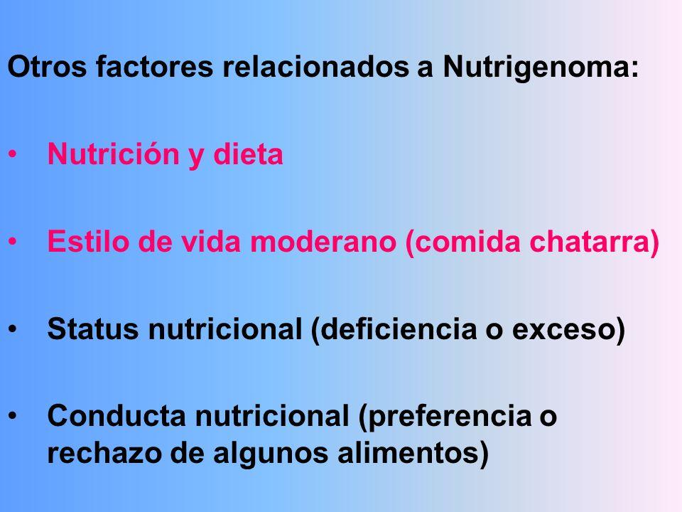 Otros factores relacionados a Nutrigenoma: