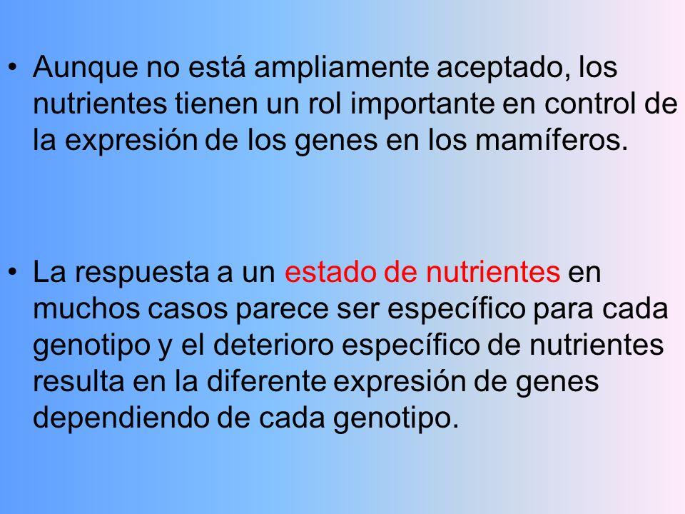 Aunque no está ampliamente aceptado, los nutrientes tienen un rol importante en control de la expresión de los genes en los mamíferos.