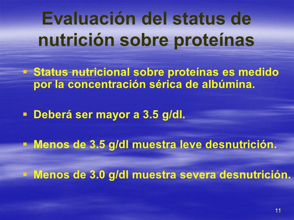 Evaluación del status de nutrición sobre proteínas