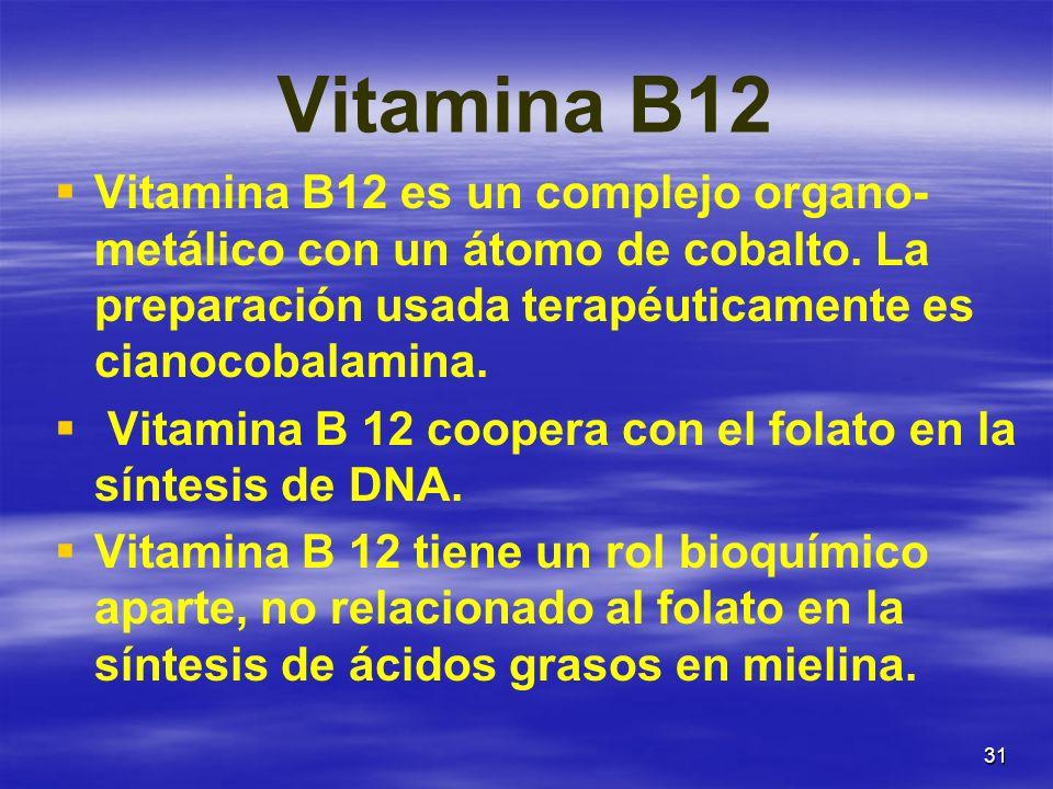 Vitamina B12 Vitamina B12 es un complejo organo-metálico con un átomo de cobalto. La preparación usada terapéuticamente es cianocobalamina.