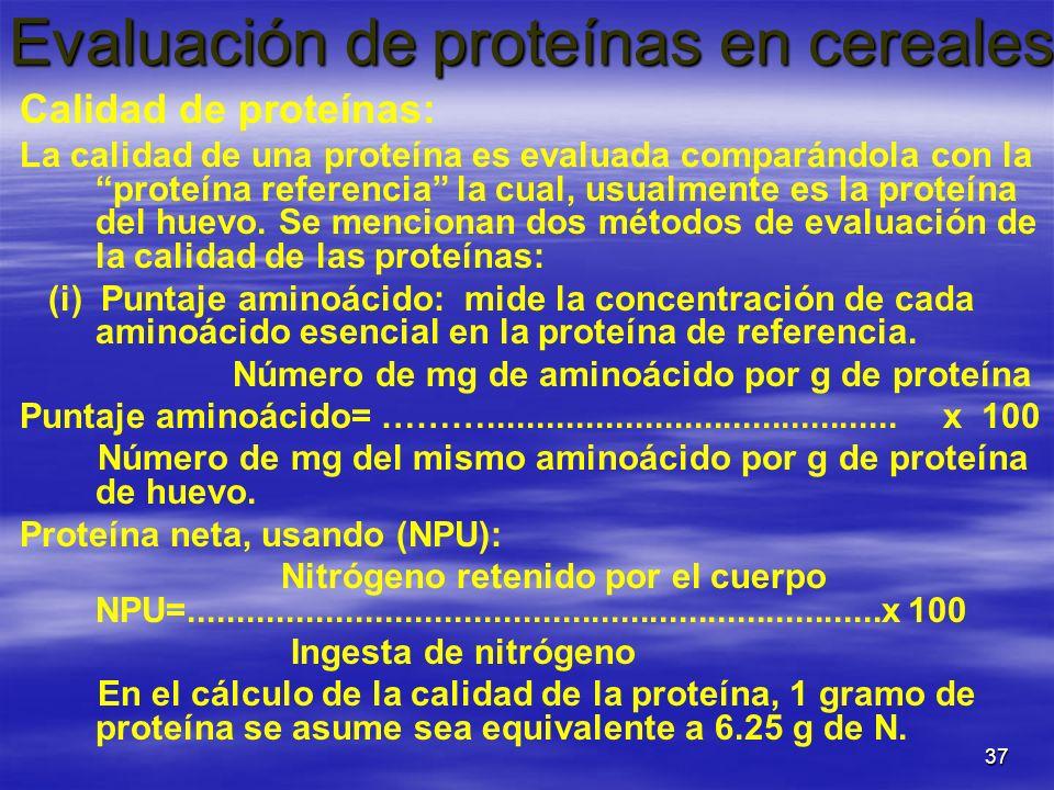 Evaluación de proteínas en cereales