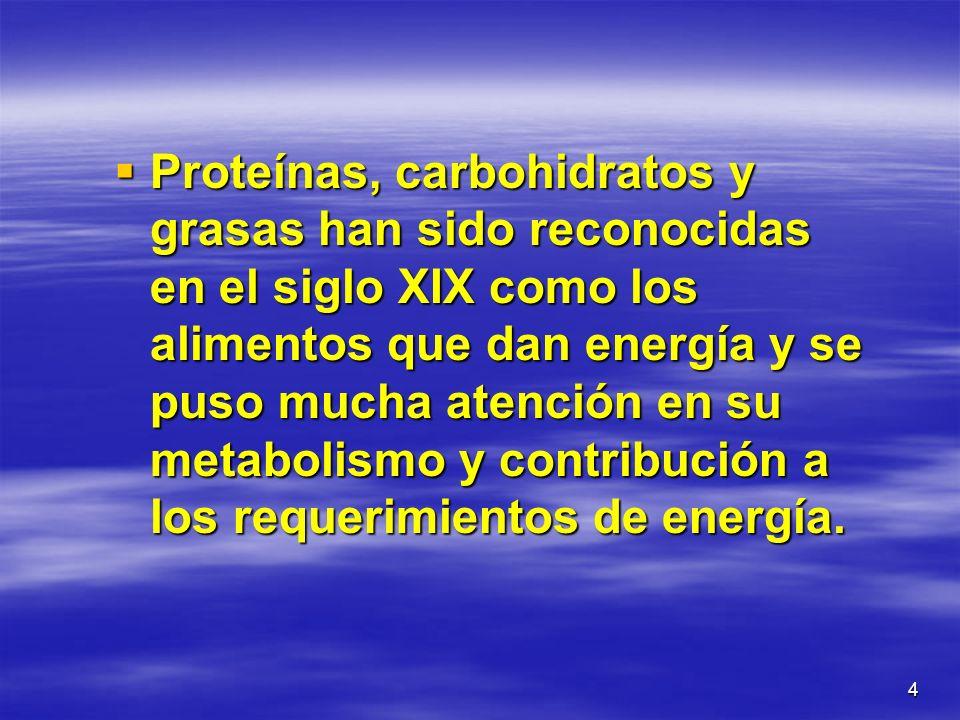 Proteínas, carbohidratos y grasas han sido reconocidas en el siglo XIX como los alimentos que dan energía y se puso mucha atención en su metabolismo y contribución a los requerimientos de energía.