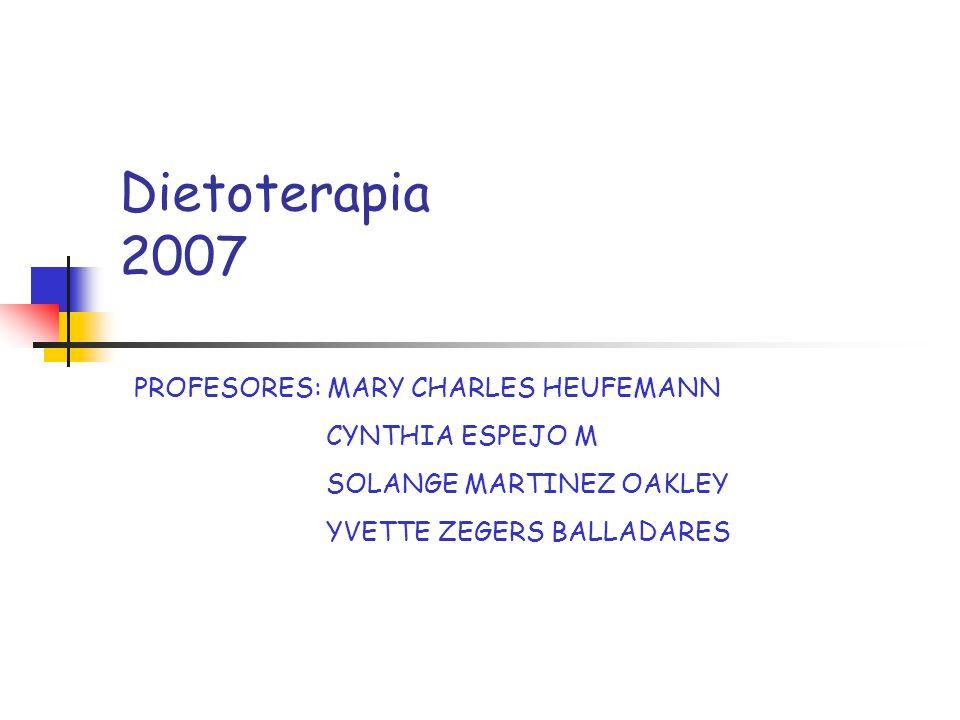 Dietoterapia 2007 PROFESORES: MARY CHARLES HEUFEMANN CYNTHIA ESPEJO M