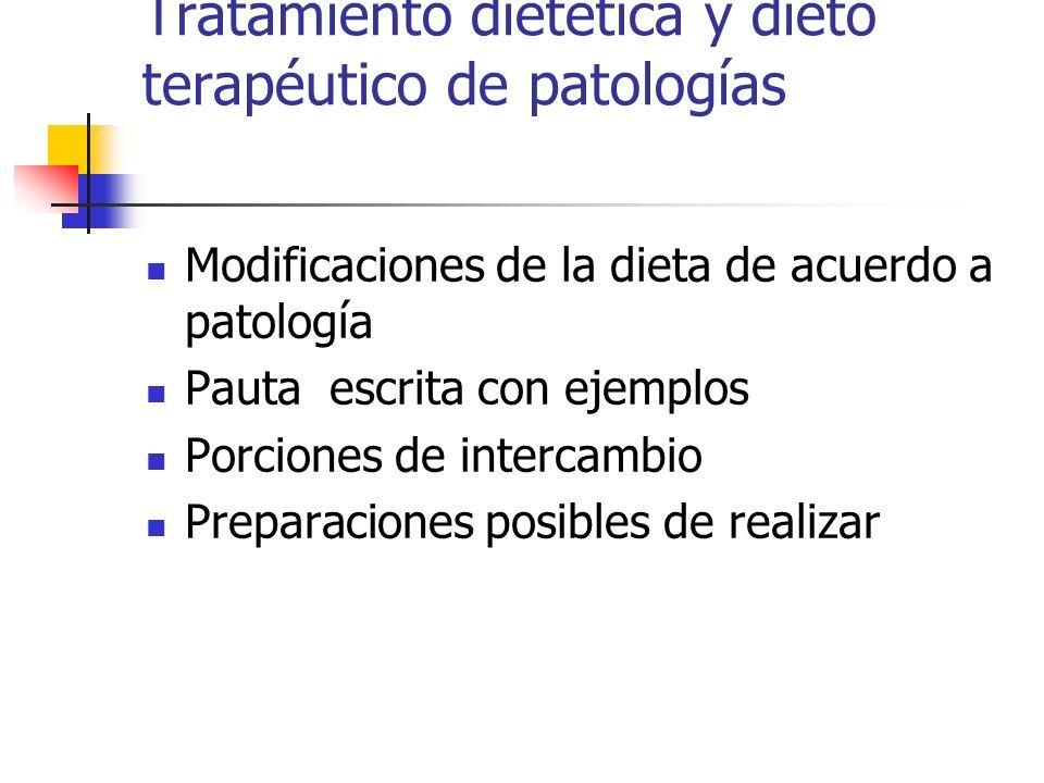 Tratamiento dietética y dieto terapéutico de patologías