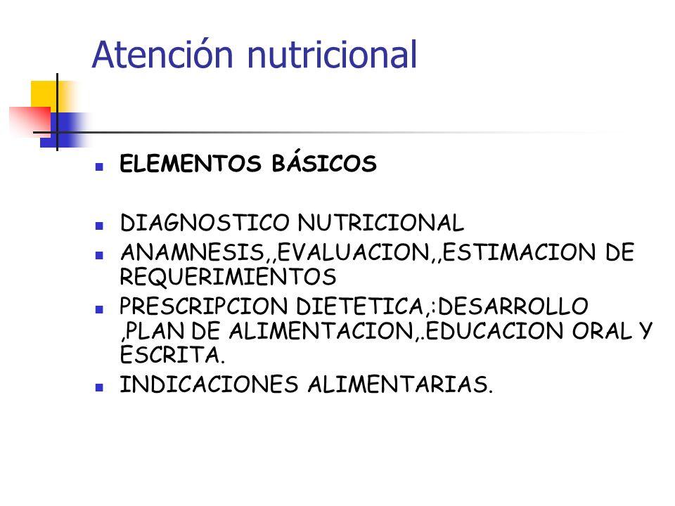 Atención nutricional ELEMENTOS BÁSICOS DIAGNOSTICO NUTRICIONAL