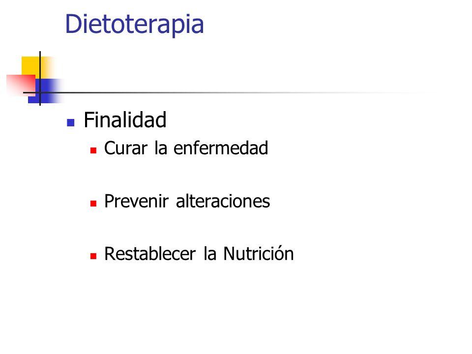Dietoterapia Finalidad Curar la enfermedad Prevenir alteraciones