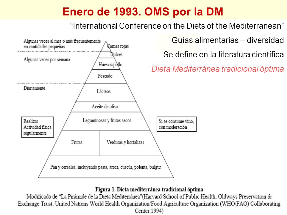 Enero de 1993. OMS por la DM International Conference on the Diets of the Mediterranean Guías alimentarias – diversidad.