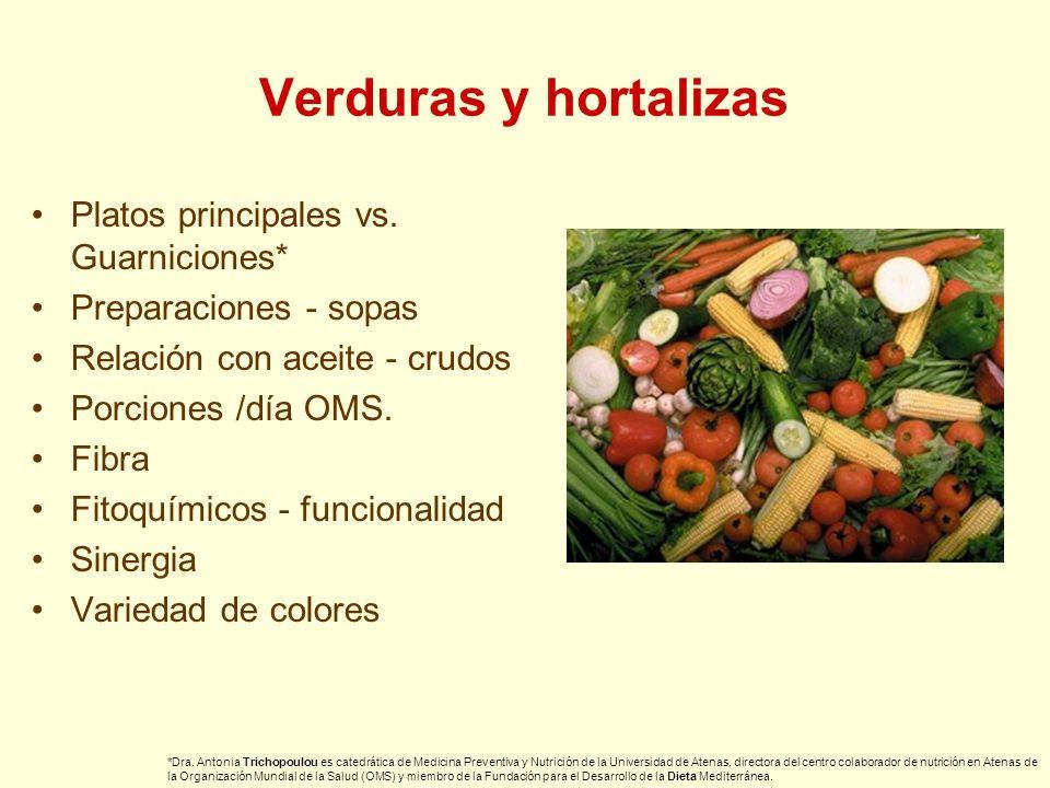 Verduras y hortalizas Platos principales vs. Guarniciones*