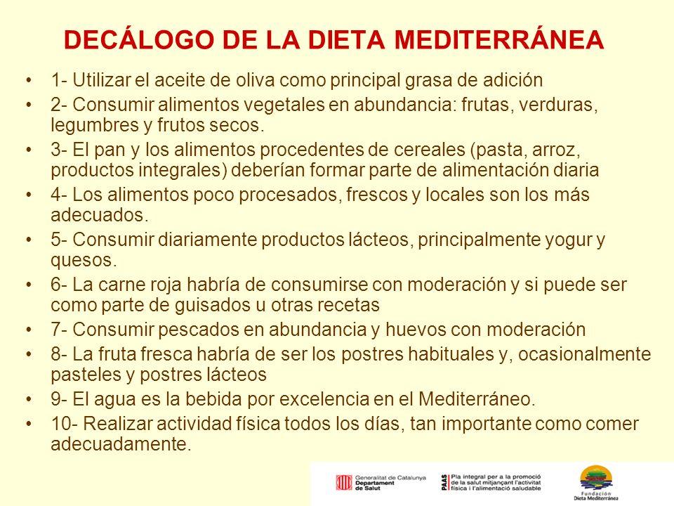 DECÁLOGO DE LA DIETA MEDITERRÁNEA