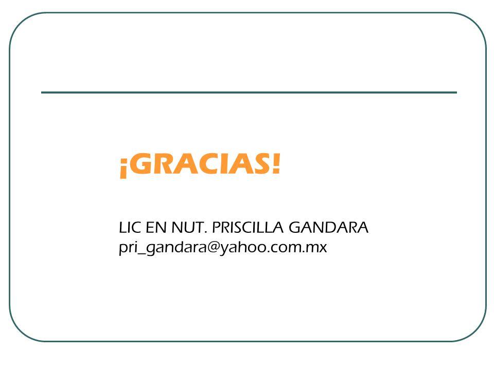 ¡GRACIAS! LIC EN NUT. PRISCILLA GANDARA pri_gandara@yahoo.com.mx