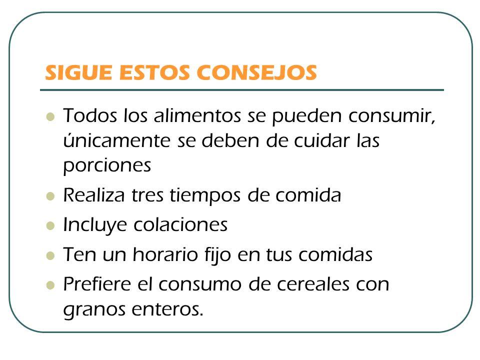 SIGUE ESTOS CONSEJOS Todos los alimentos se pueden consumir, únicamente se deben de cuidar las porciones.