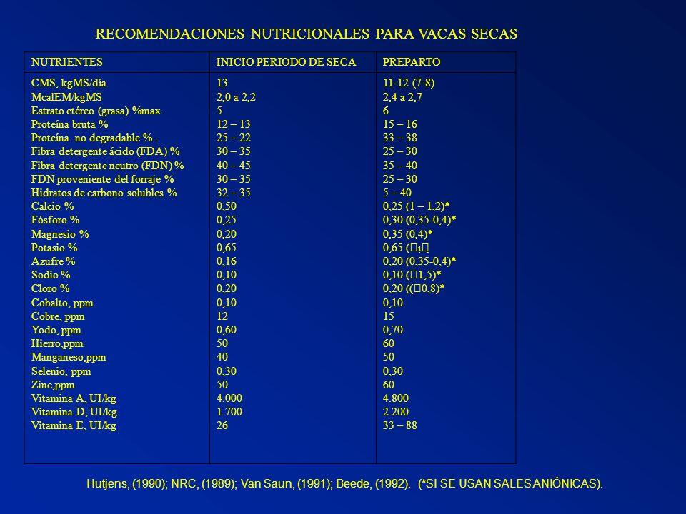 RECOMENDACIONES NUTRICIONALES PARA VACAS SECAS