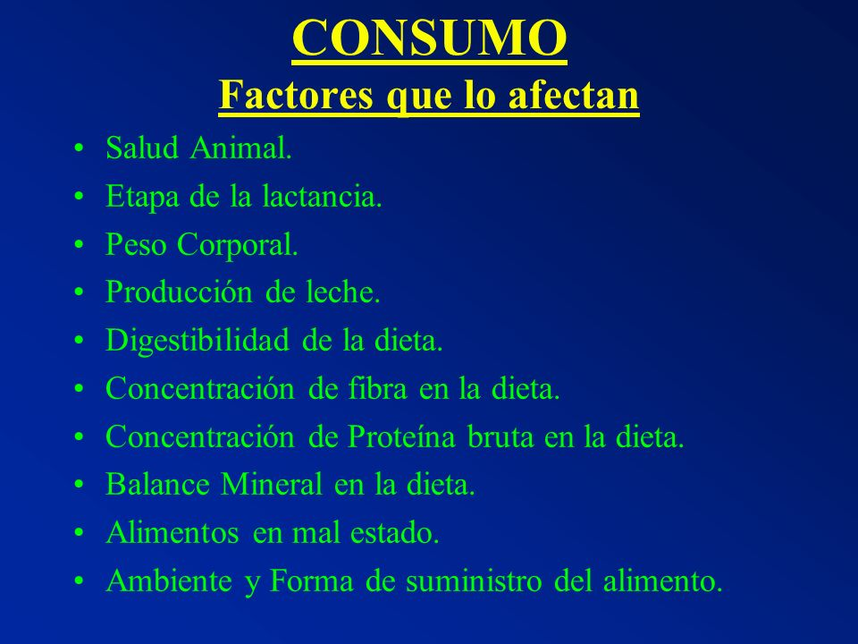 CONSUMO Factores que lo afectan