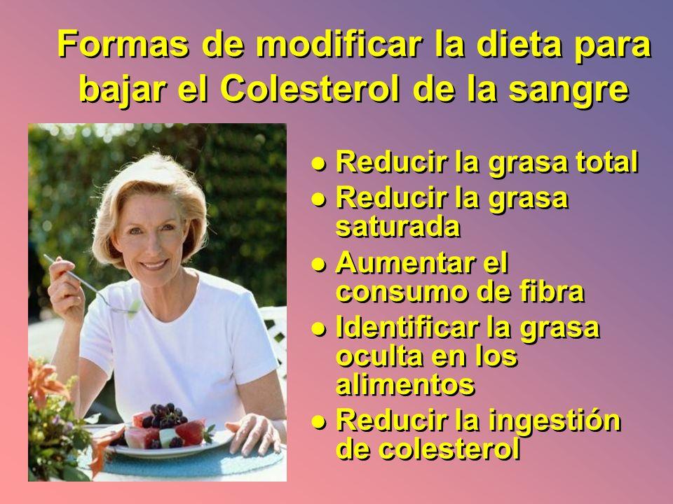 Formas de modificar la dieta para bajar el Colesterol de la sangre
