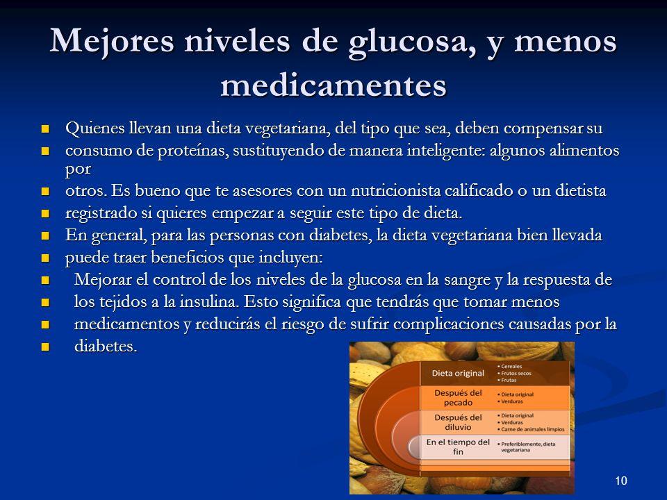 Mejores niveles de glucosa, y menos medicamentes