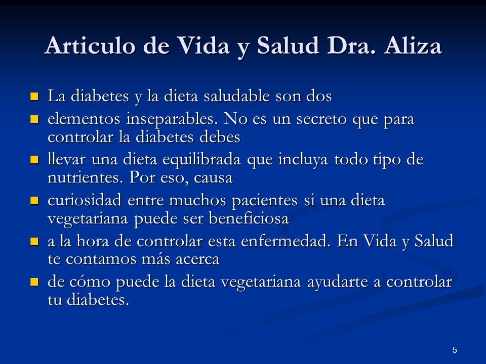 Articulo de Vida y Salud Dra. Aliza