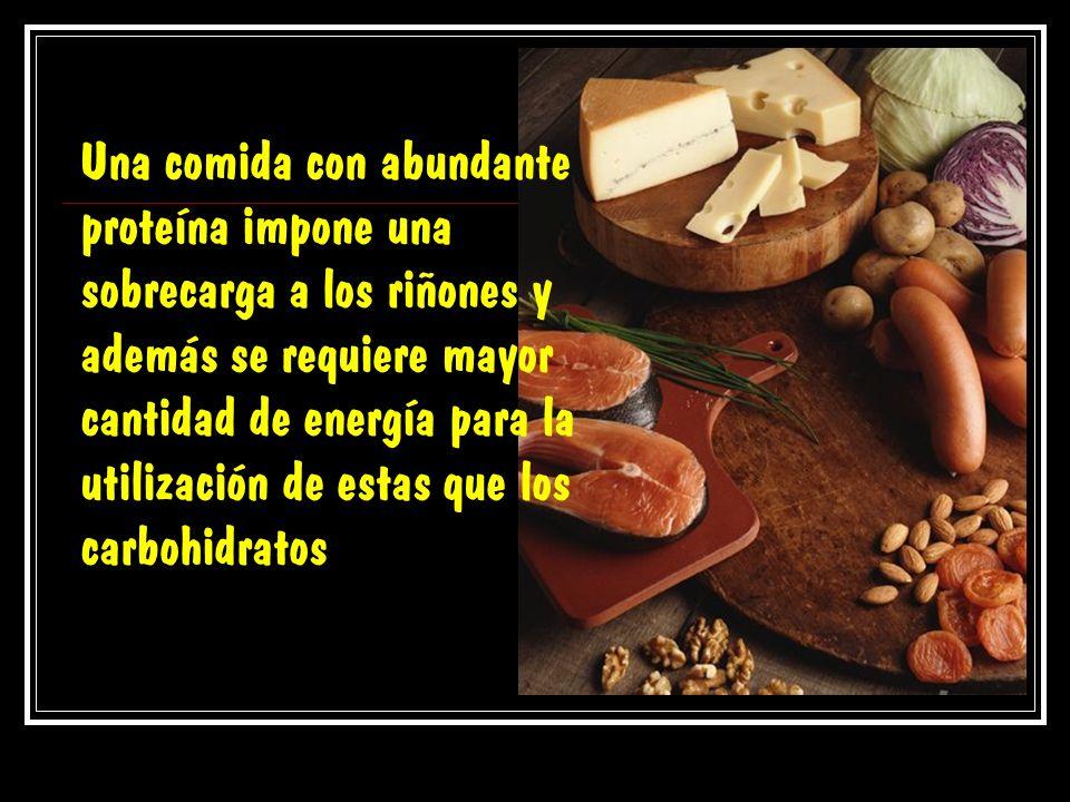 Una comida con abundante proteína impone una sobrecarga a los riñones y además se requiere mayor cantidad de energía para la utilización de estas que los carbohidratos