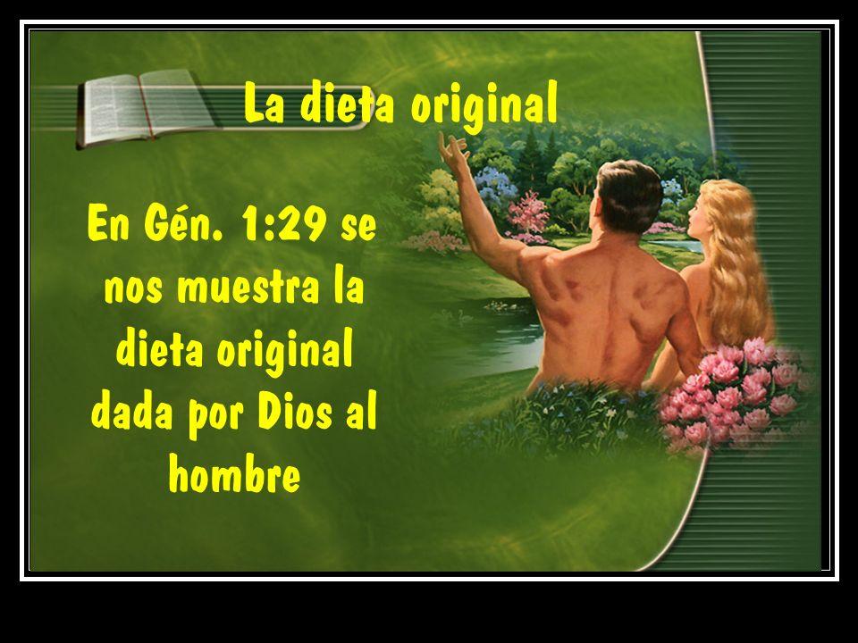 En Gén. 1:29 se nos muestra la dieta original dada por Dios al hombre