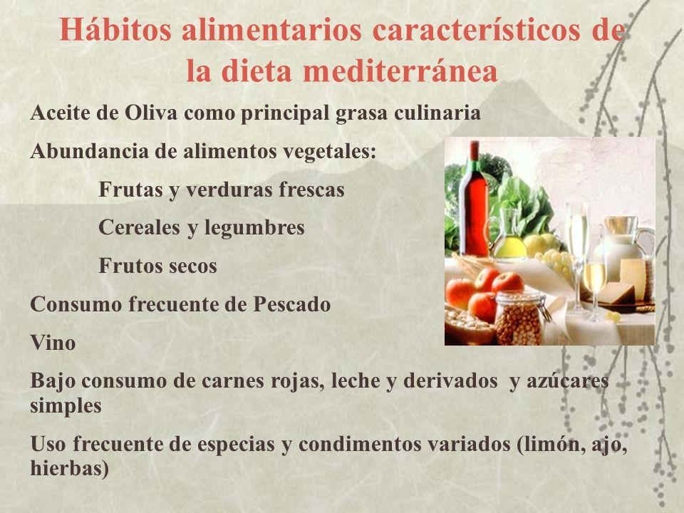 Hábitos alimentarios característicos de la dieta mediterránea