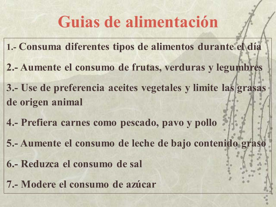 Guias de alimentación 1.- Consuma diferentes tipos de alimentos durante el día. 2.- Aumente el consumo de frutas, verduras y legumbres.