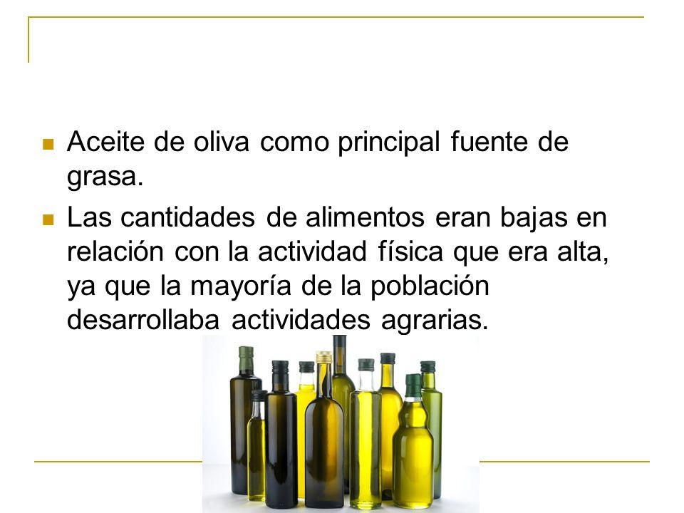 Aceite de oliva como principal fuente de grasa.