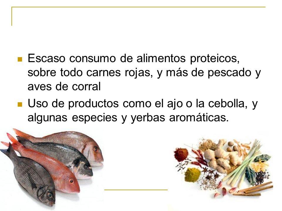 Escaso consumo de alimentos proteicos, sobre todo carnes rojas, y más de pescado y aves de corral