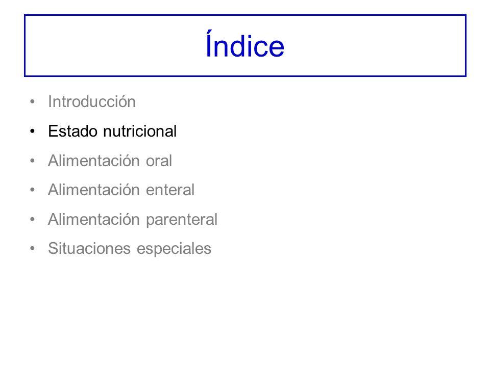 Índice Introducción Estado nutricional Alimentación oral