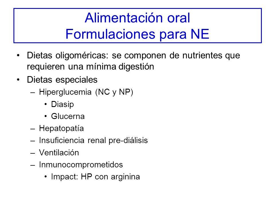 Alimentación oral Formulaciones para NE