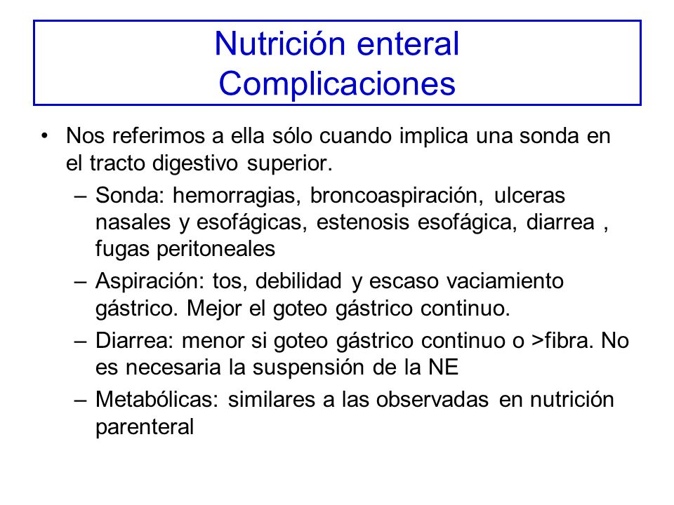 Nutrición enteral Complicaciones