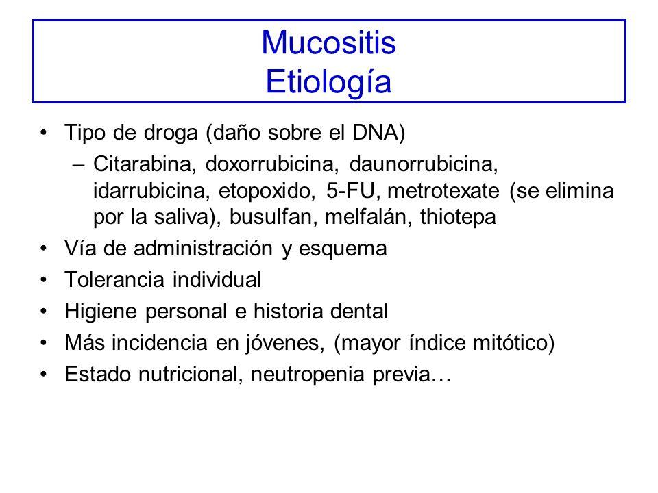 Mucositis Etiología Tipo de droga (daño sobre el DNA)