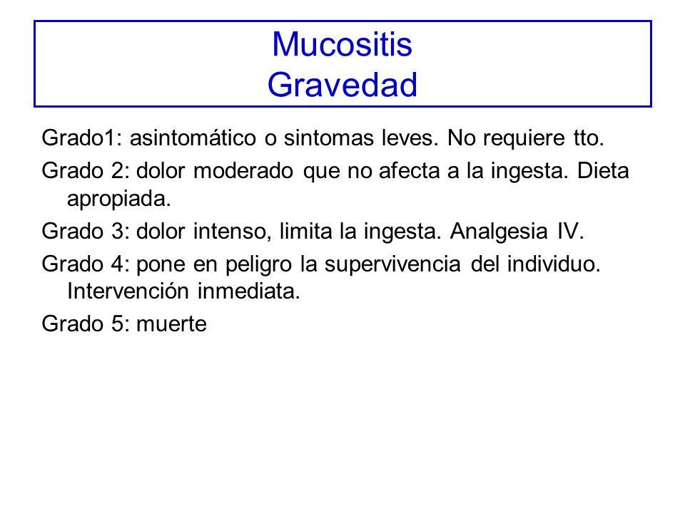 Mucositis Gravedad Grado1: asintomático o sintomas leves. No requiere tto. Grado 2: dolor moderado que no afecta a la ingesta. Dieta apropiada.