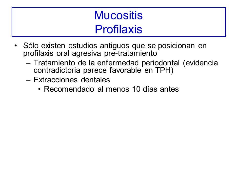 Mucositis Profilaxis Sólo existen estudios antiguos que se posicionan en profilaxis oral agresiva pre-tratamiento.