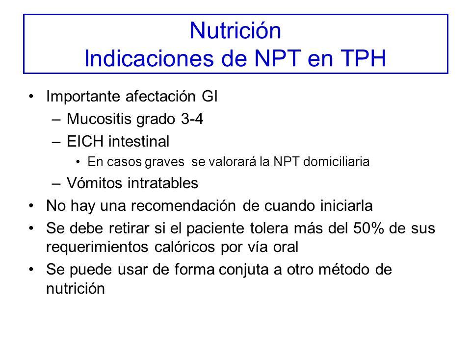 Nutrición Indicaciones de NPT en TPH