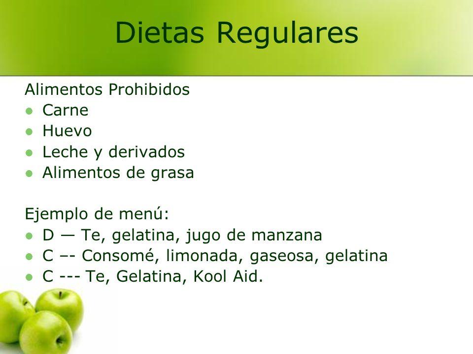 Dietas Regulares Alimentos Prohibidos Carne Huevo Leche y derivados