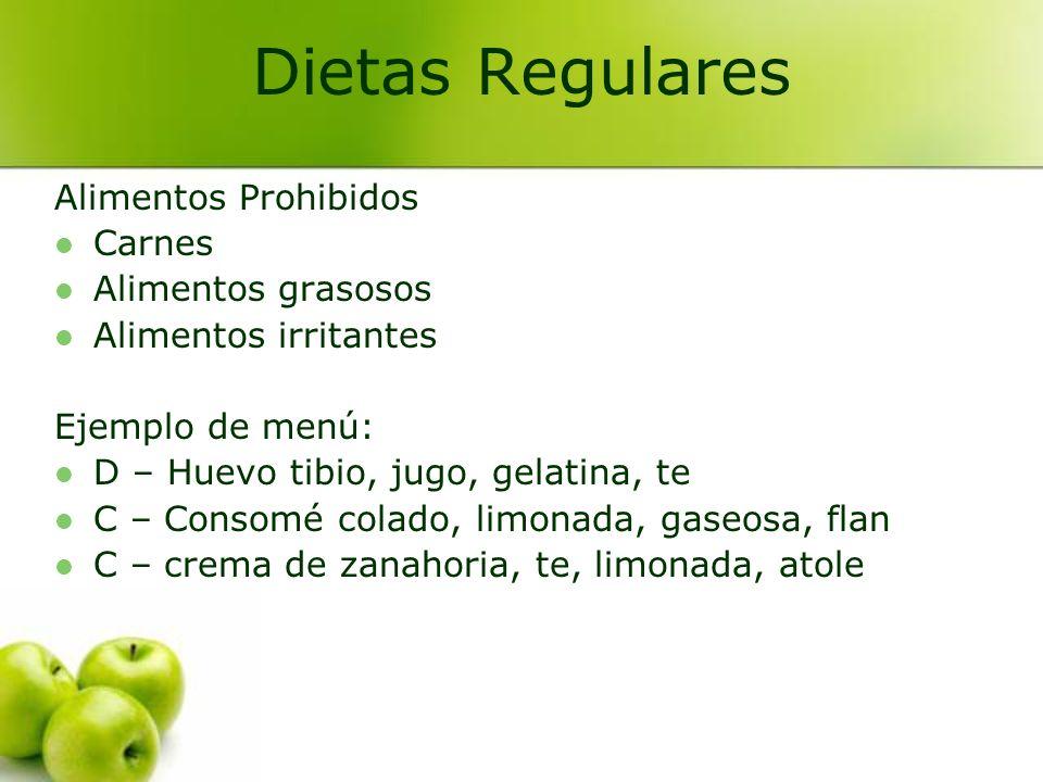 Dietas Regulares Alimentos Prohibidos Carnes Alimentos grasosos
