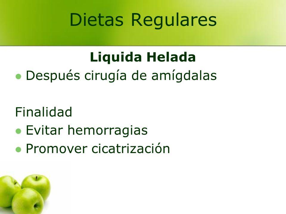 Dietas Regulares Liquida Helada Después cirugía de amígdalas Finalidad