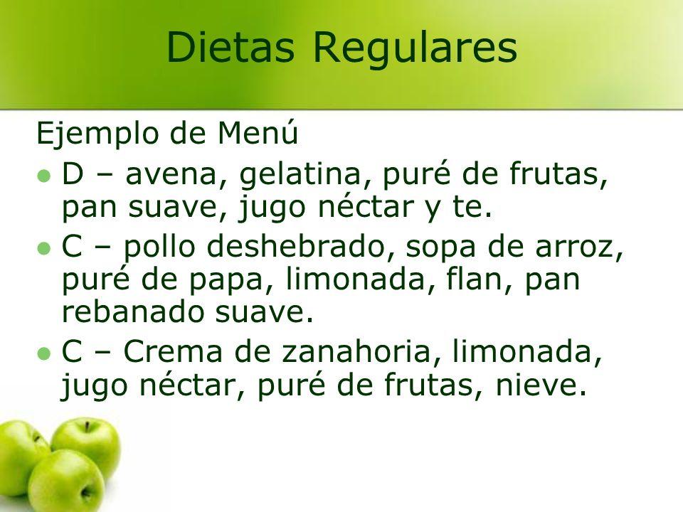 Dietas Regulares Ejemplo de Menú