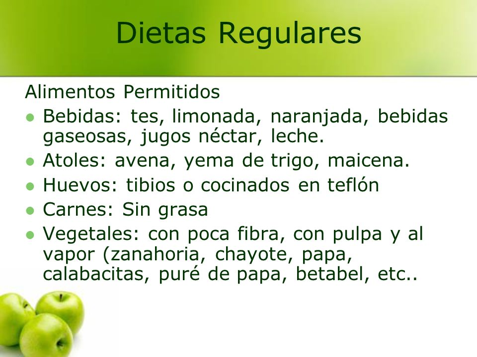 Dietas Regulares Alimentos Permitidos