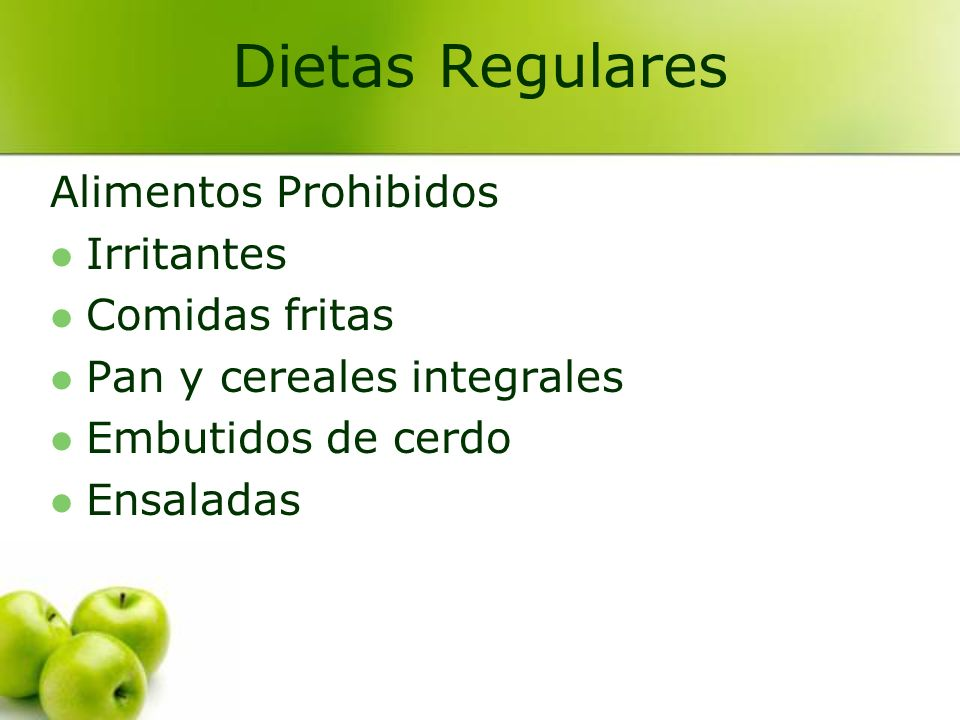 Dietas Regulares Alimentos Prohibidos Irritantes Comidas fritas