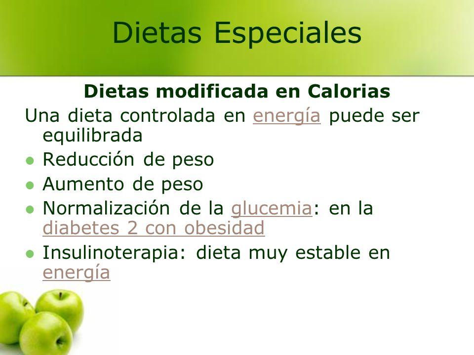 Dietas modificada en Calorias