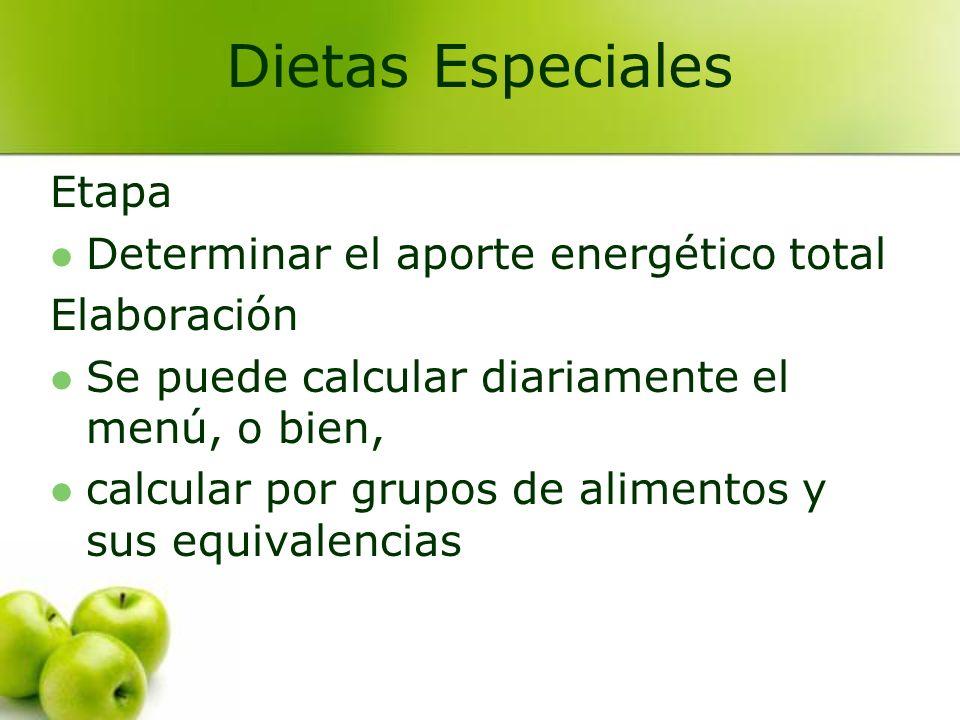 Dietas Especiales Etapa Determinar el aporte energético total