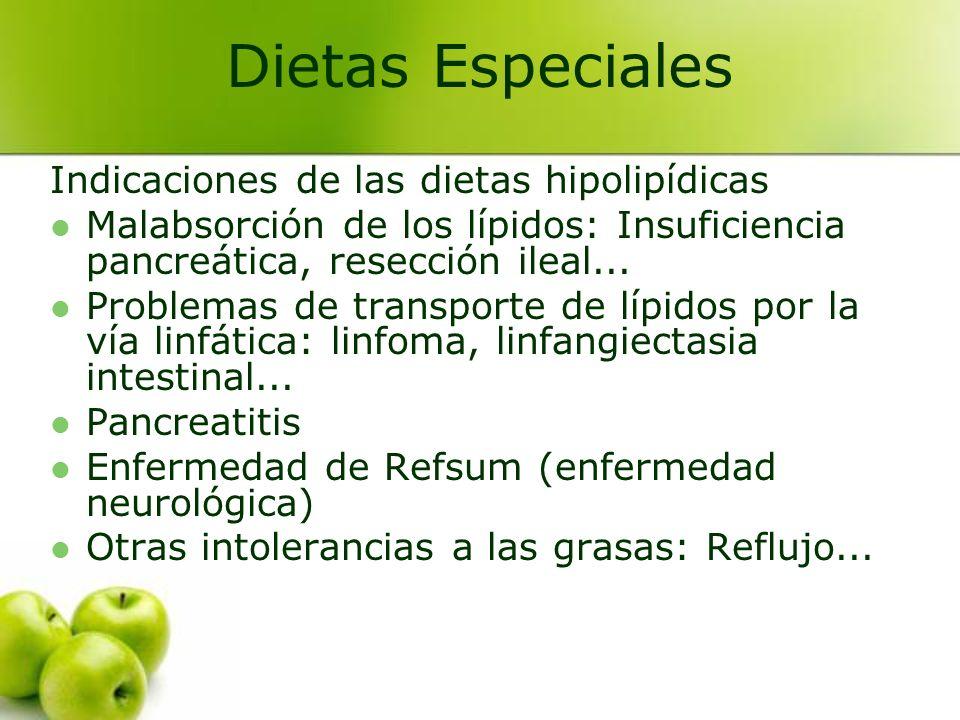Dietas Especiales Indicaciones de las dietas hipolipídicas